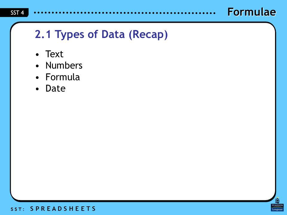 Formulae S S T : S P R E A D S H E E T S SST 4 2.1 Types of Data (Recap) Text Numbers Formula Date