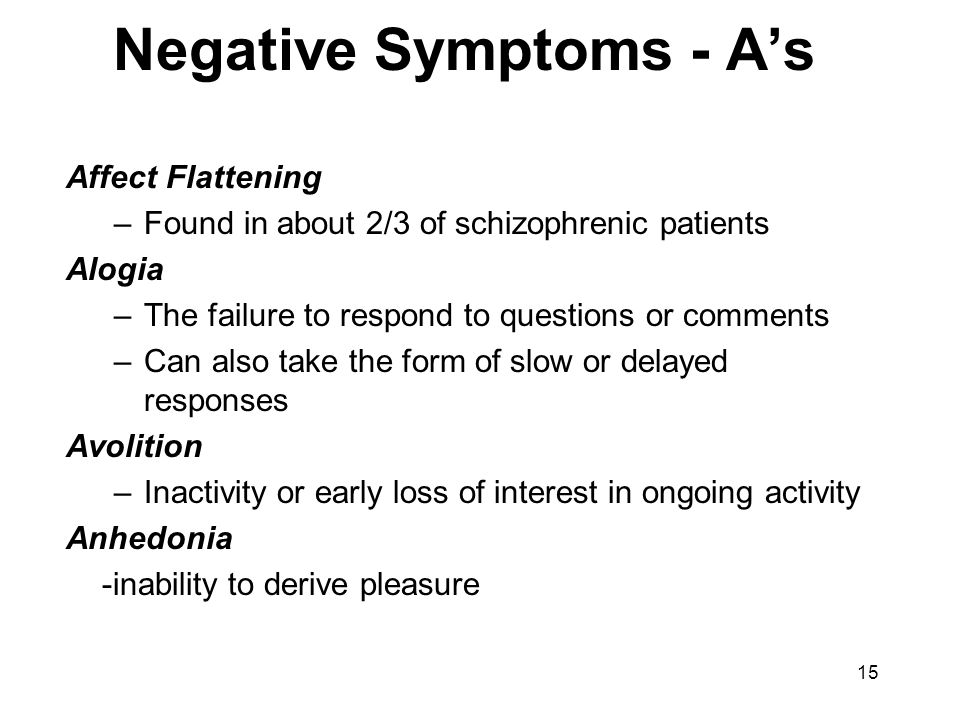Negative Symptoms - A's Affect Flattening –Found in about 2/3 of schizophrenic patients Alogia –The failure to respond to questions or comments –Can a