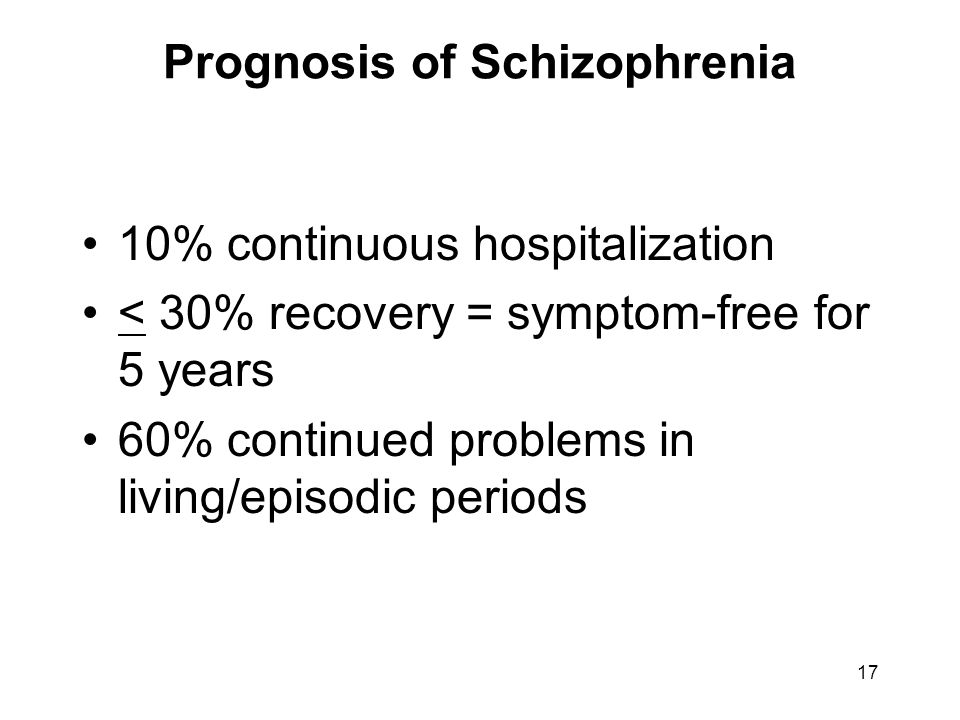 Prognosis of Schizophrenia 10% continuous hospitalization < 30% recovery = symptom-free for 5 years 60% continued problems in living/episodic periods