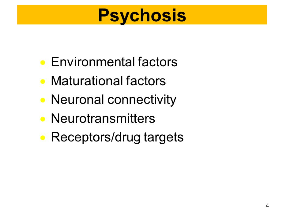  Environmental factors  Maturational factors  Neuronal connectivity  Neurotransmitters  Receptors/drug targets Psychosis 4