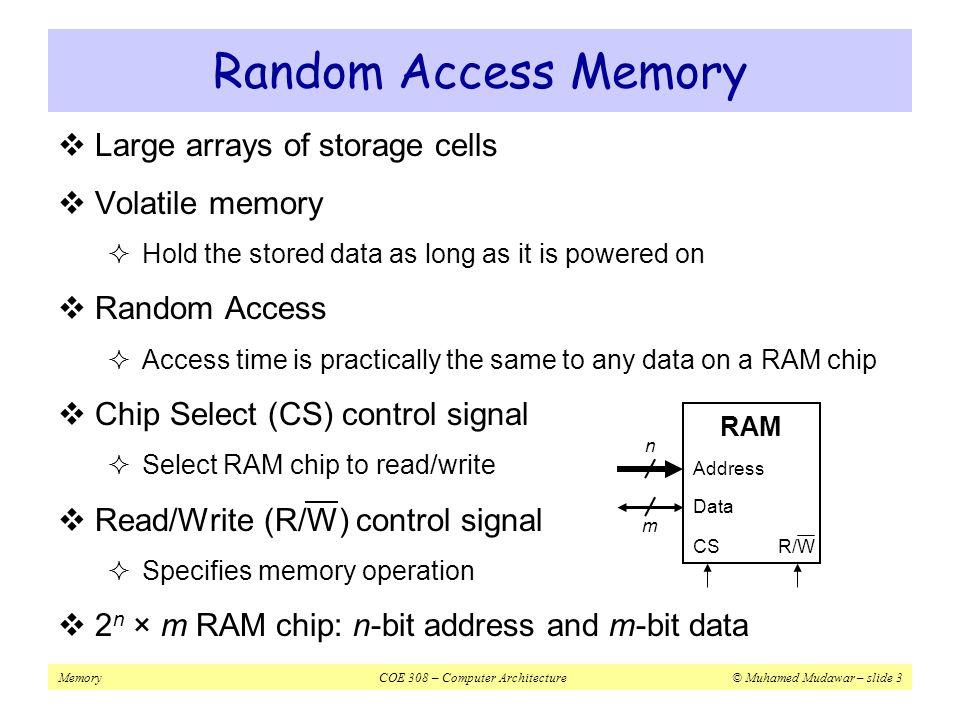 MemoryCOE 308 – Computer Architecture© Muhamed Mudawar – slide 14 Processor-Memory Performance Gap  1980 – No cache in microprocessor  1995 – Two-level cache on microprocessor