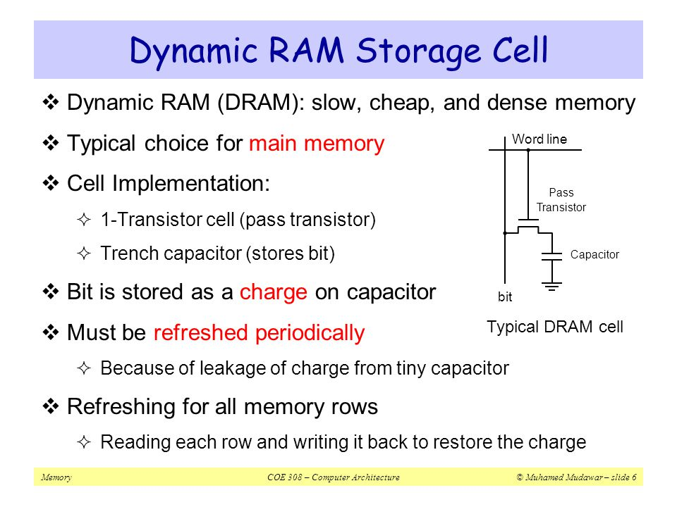 MemoryCOE 308 – Computer Architecture© Muhamed Mudawar – slide 17 Principle of Locality of Reference  Programs access small portion of their address space  At any time, only a small set of instructions & data is needed  Temporal Locality (in time)  If an item is accessed, probably it will be accessed again soon  Same loop instructions are fetched each iteration  Same procedure may be called and executed many times  Spatial Locality (in space)  Tendency to access contiguous instructions/data in memory  Sequential execution of Instructions  Traversing arrays element by element