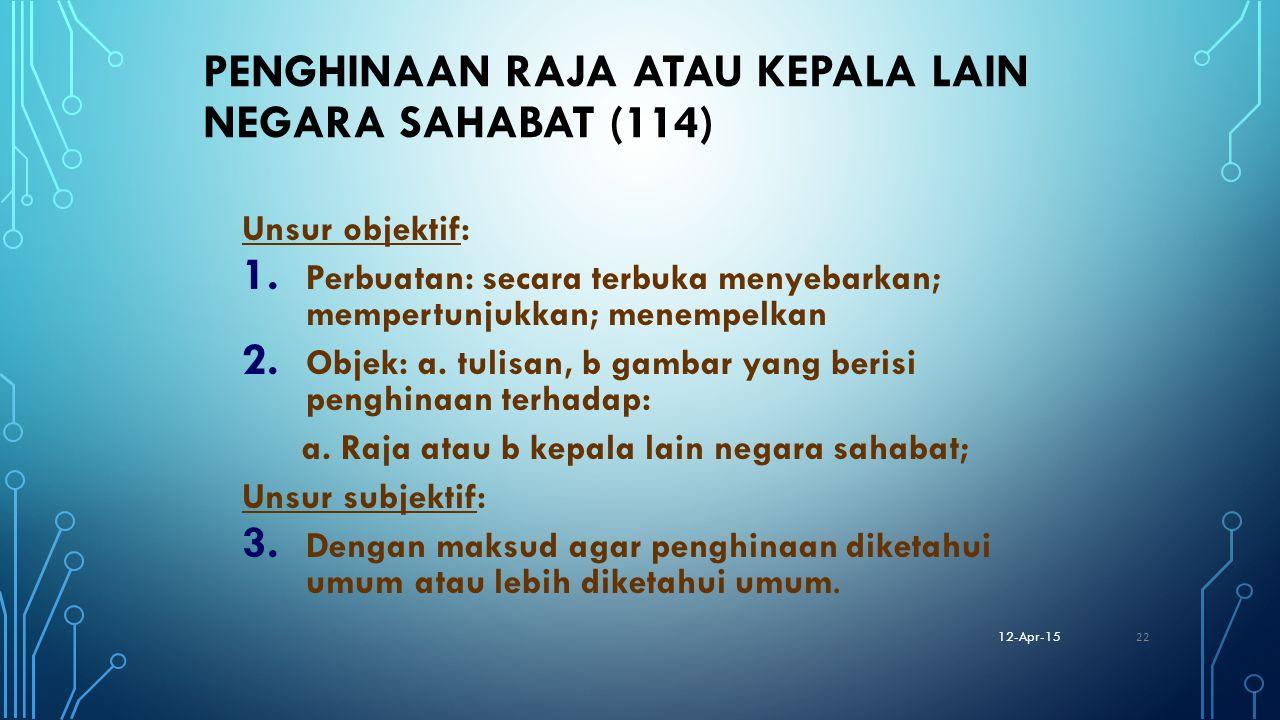 PENGHINAAN RAJA ATAU KEPALA LAIN NEGARA SAHABAT (114) Unsur objektif: 1. Perbuatan: secara terbuka menyebarkan; mempertunjukkan; menempelkan 2. Objek: