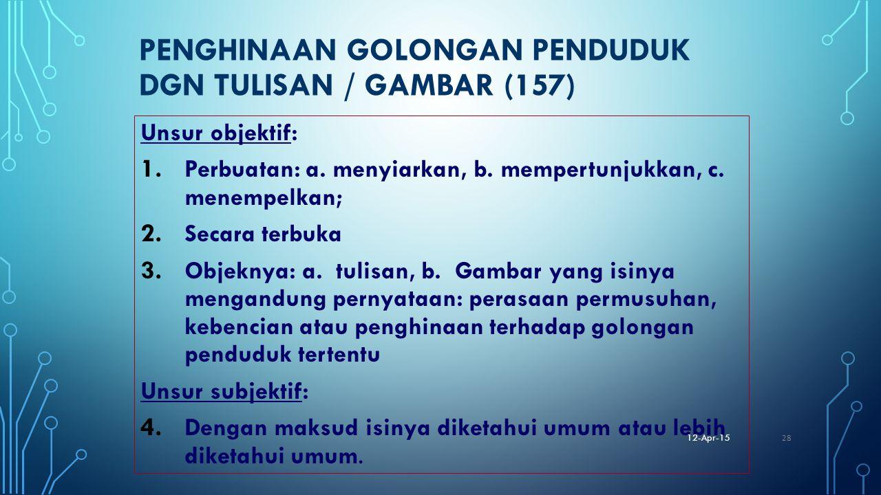 PENGHINAAN GOLONGAN PENDUDUK DGN TULISAN / GAMBAR (157) Unsur objektif: 1. Perbuatan: a. menyiarkan, b. mempertunjukkan, c. menempelkan; 2. Secara ter