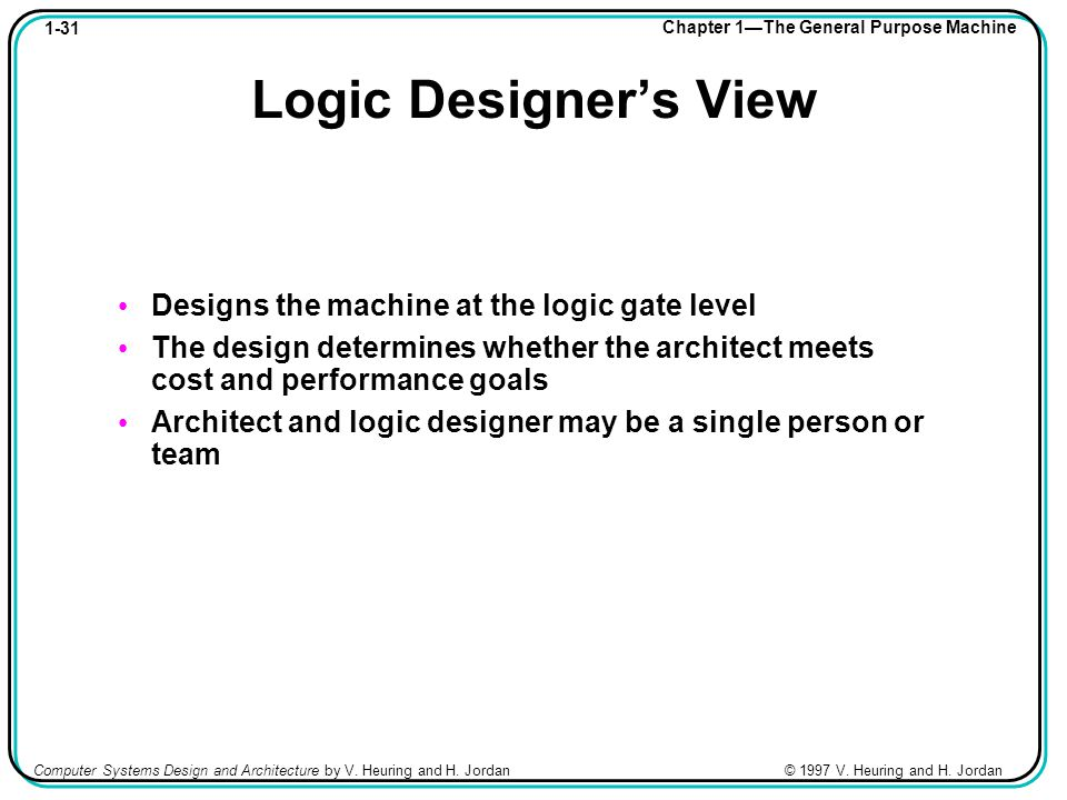 1-31 Chapter 1—The General Purpose Machine Computer Systems Design and Architecture by V.