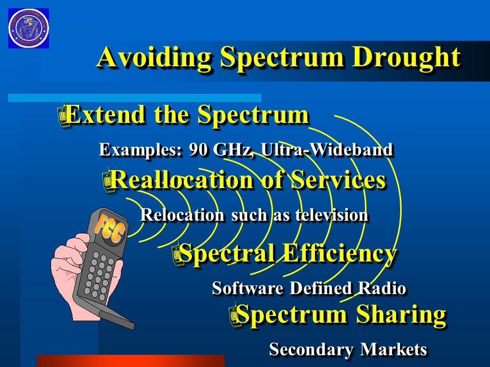 Avoiding Spectrum Drought  Extend the Spectrum Examples: 90 GHz, Ultra-Wideband Examples: 90 GHz, Ultra-Wideband  Extend the Spectrum Examples: 90 GHz, Ultra-Wideband Examples: 90 GHz, Ultra-Wideband  Reallocation of Services Relocation such as television Relocation such as television  Reallocation of Services Relocation such as television Relocation such as television  Spectral Efficiency Software Defined Radio Software Defined Radio  Spectral Efficiency Software Defined Radio Software Defined Radio  Spectrum Sharing Secondary Markets Secondary Markets  Spectrum Sharing Secondary Markets Secondary Markets