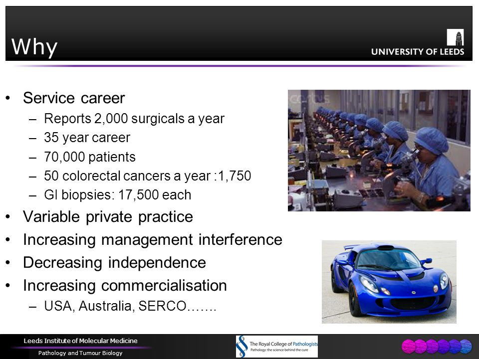 Leeds Institute of Molecular Medicine Pathology and Tumour Biology Why Service career –Reports 2,000 surgicals a year –35 year career –70,000 patients –50 colorectal cancers a year :1,750 –GI biopsies: 17,500 each Variable private practice Increasing management interference Decreasing independence Increasing commercialisation –USA, Australia, SERCO…….