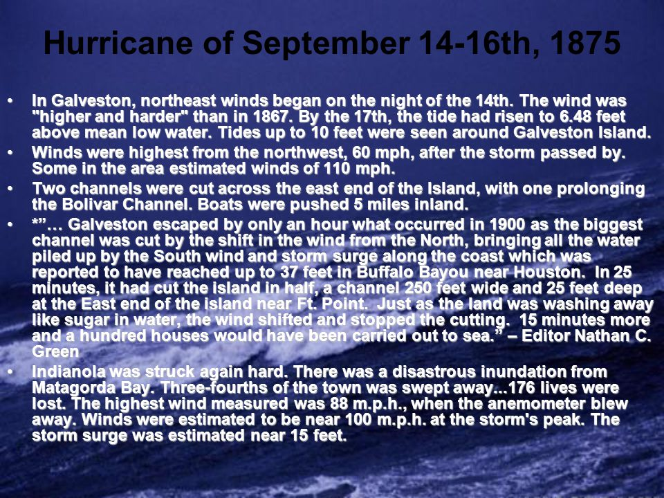 Hurricane of August 19-20th, 1886 Indianola suffered another calamity from a hurricane.Indianola suffered another calamity from a hurricane.