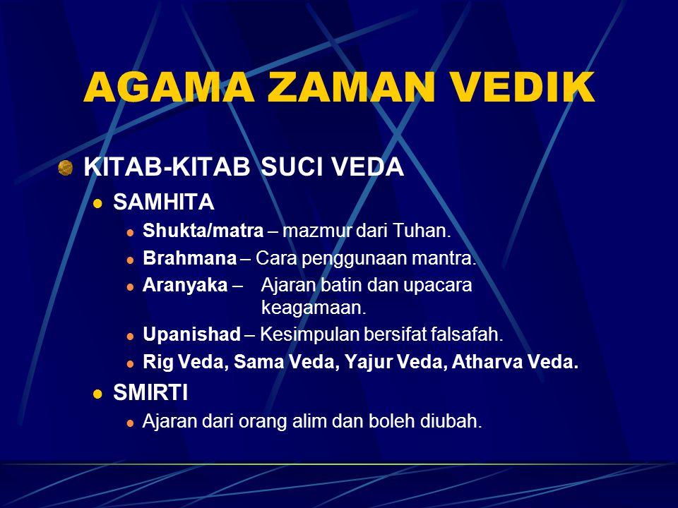 INDIA UTARA SISTEM VARNA 3 kelas masyararakat utama (Trivarna) Prohita (Brahmin) Menjalankan upacara keugamaan Ksatriya Pemerintah Vaisya Pedagang dan rakyat biasa Dasa/dasyu Hamba abdi Pancama atau Chandala Mereka dibuang dari sistem Varna kerana melanggar peraturan2 Varna