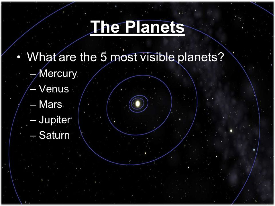 What are the 5 most visible planets? –Mercury –Venus –Mars –Jupiter –Saturn The Planets
