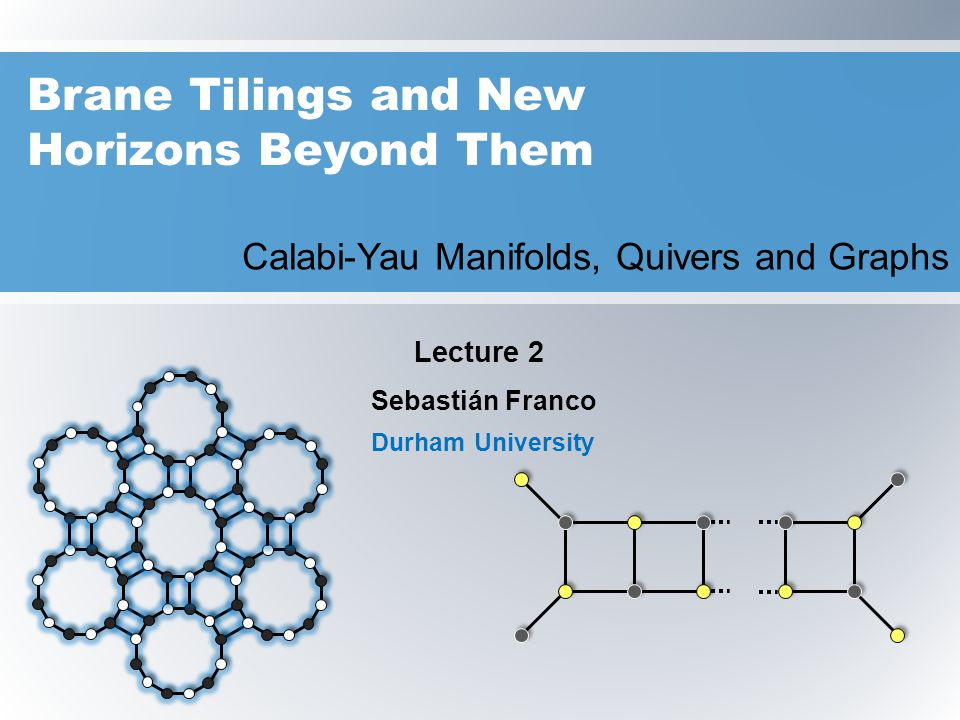Sebastian Franco 2 Outline: Lecture 2  Brane Tilings as Physical Brane Configurations  Graphical QFT Dynamics  Orbifolds  Scale Dependence in QFT  Partial Resolution of Singularities and Higgsing  From Geometry to Brane Tilings  Orientifolds