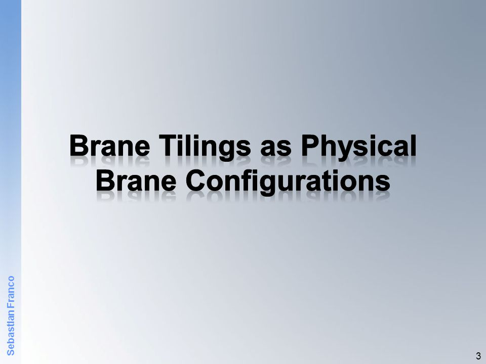 Brane Intervals  An alternative approach for engineering gauge theories using branes (dual to branes at singularities) 4 T D-brane ~ 1/g s T NS5 ~ 1/g s 2  The field theory lives in the common dimensions.