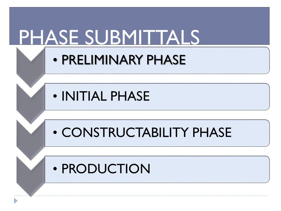 PRELIMINARY PHASEPRELIMINARY PHASE INITIAL PHASE CONSTRUCTABILITY PHASEPRODUCTION PRELIMINARY PHASE PHASE SUBMITTALS
