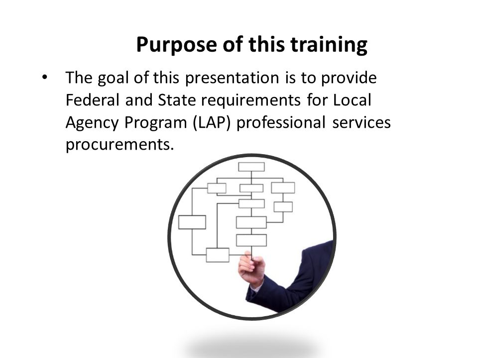 Purpose of this training The goal of this presentation is to provide Federal and State requirements for Local Agency Program (LAP) professional servic