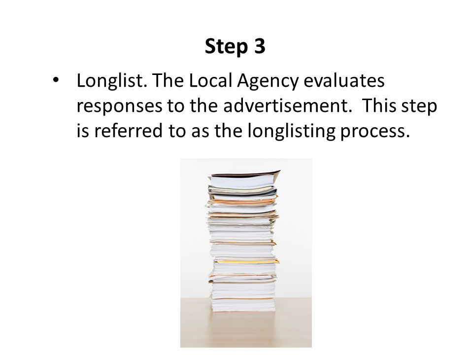Step 3 Longlist. The Local Agency evaluates responses to the advertisement. This step is referred to as the longlisting process.