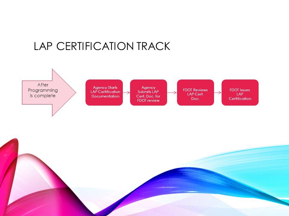 LAP CERTIFICATION TRACK Agency Starts LAP Certification Documentation Agency Submits LAP Cert. Doc. for FDOT review FDOT Reviews LAP Cert. Doc. FDOT I