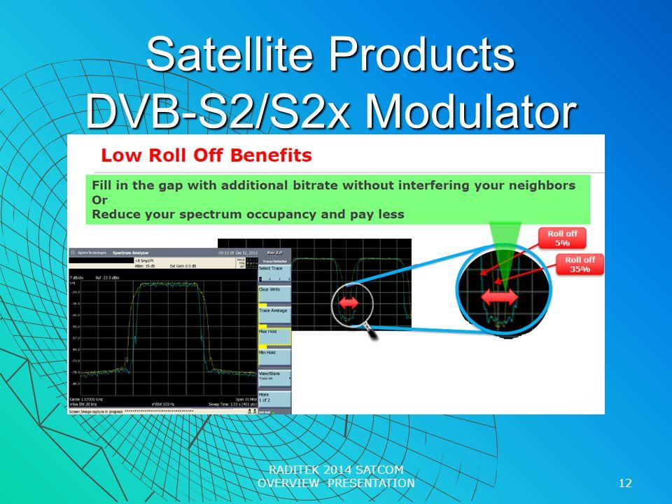 Satellite Products DVB-S2/S2x Modulator 12 RADITEK 2014 SATCOM OVERVIEW PRESENTATION