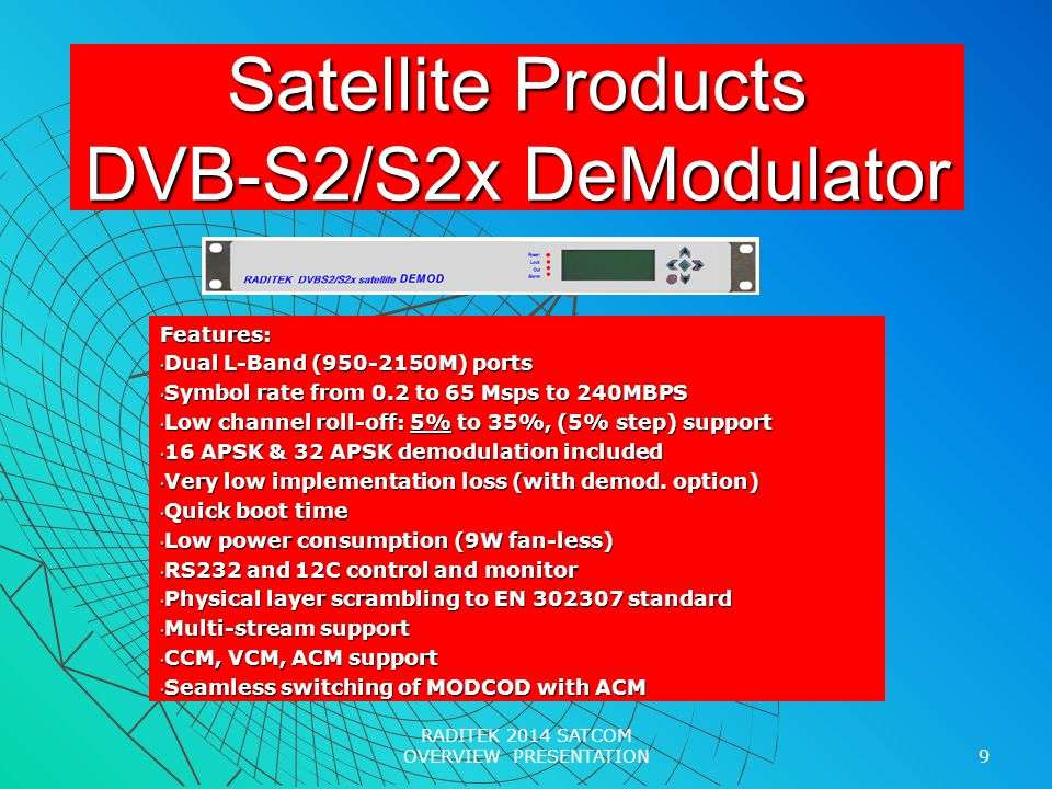 Satellite Products DVB-S2/S2x DeModulator Features: Dual L-Band (950-2150M) ports Dual L-Band (950-2150M) ports Symbol rate from 0.2 to 65 Msps to 240MBPS Symbol rate from 0.2 to 65 Msps to 240MBPS Low channel roll-off: 5% to 35%, (5% step) support Low channel roll-off: 5% to 35%, (5% step) support 16 APSK & 32 APSK demodulation included 16 APSK & 32 APSK demodulation included Very low implementation loss (with demod.
