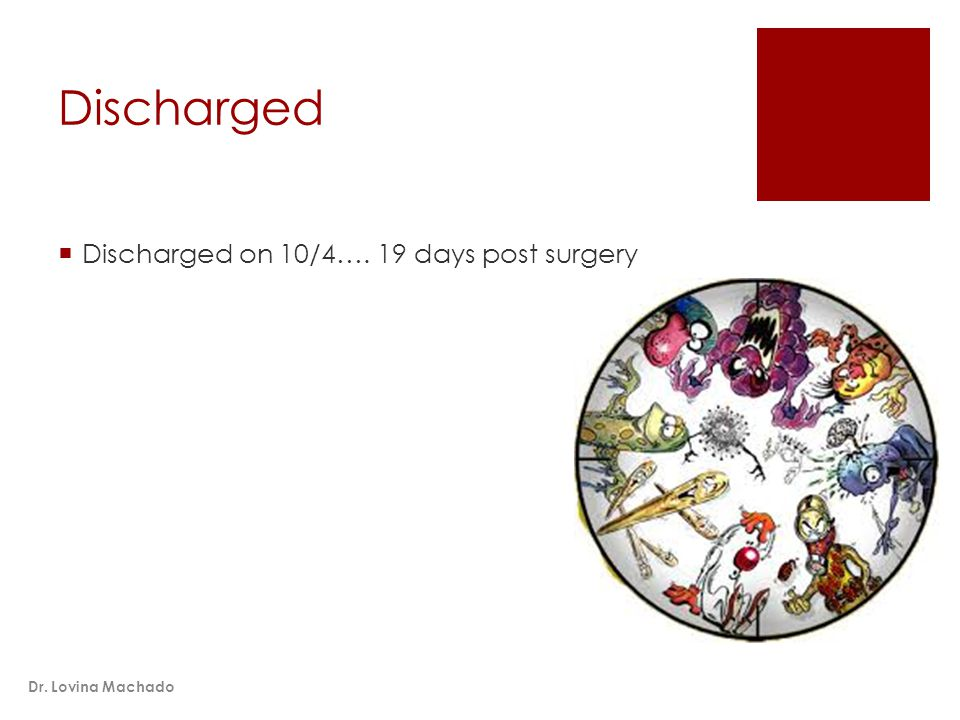 Discharged  Discharged on 10/4…. 19 days post surgery Dr. Lovina Machado