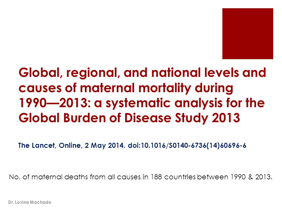Global, regional, and national levels and causes of maternal mortality during 1990—2013: a systematic analysis for the Global Burden of Disease Study