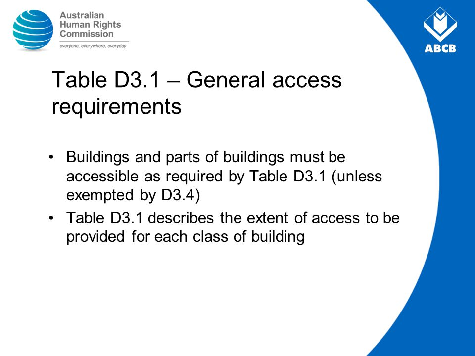 Table D3.1 – General access requirements Buildings and parts of buildings must be accessible as required by Table D3.1 (unless exempted by D3.4) Table