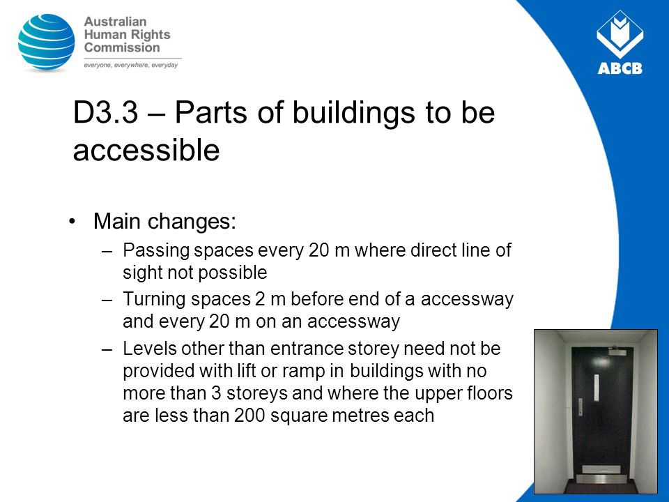 D3.3 – Parts of buildings to be accessible Main changes: –Passing spaces every 20 m where direct line of sight not possible –Turning spaces 2 m before
