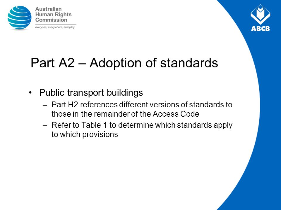 Part A2 – Adoption of standards Public transport buildings –Part H2 references different versions of standards to those in the remainder of the Access