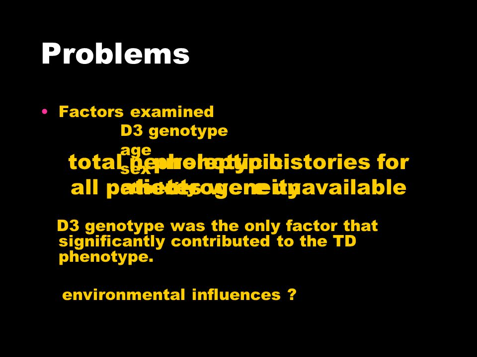 Problems Factors examined D3 genotype age sex ethnicity D3 genotype was the only factor that significantly contributed to the TD phenotype.