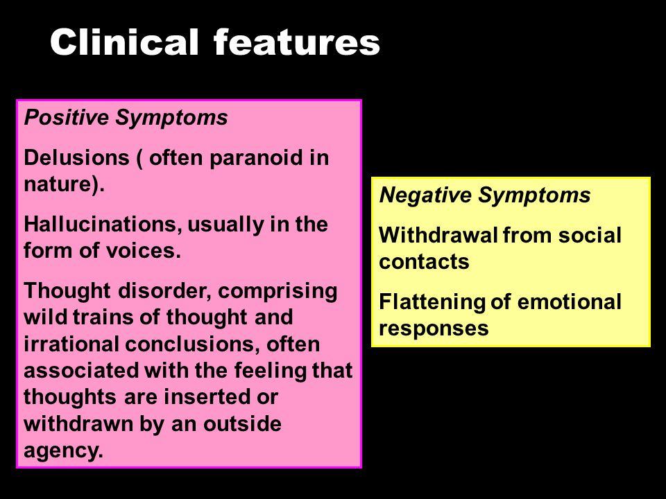 Clinical features Positive Symptoms Delusions ( often paranoid in nature).