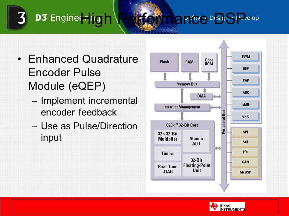 High Performance DSP Enhanced Quadrature Encoder Pulse Module (eQEP) –Implement incremental encoder feedback –Use as Pulse/Direction input