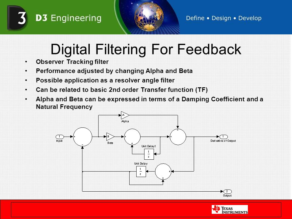 Digital Filtering For Feedback Observer Tracking filter Performance adjusted by changing Alpha and Beta Possible application as a resolver angle filte