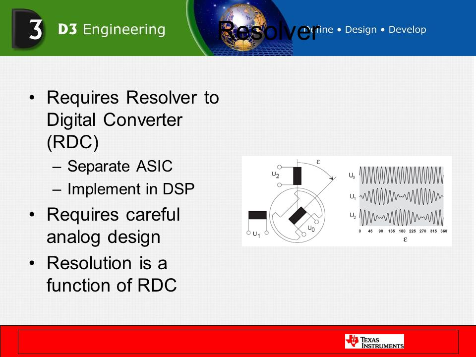 Resolver Requires Resolver to Digital Converter (RDC) –Separate ASIC –Implement in DSP Requires careful analog design Resolution is a function of RDC