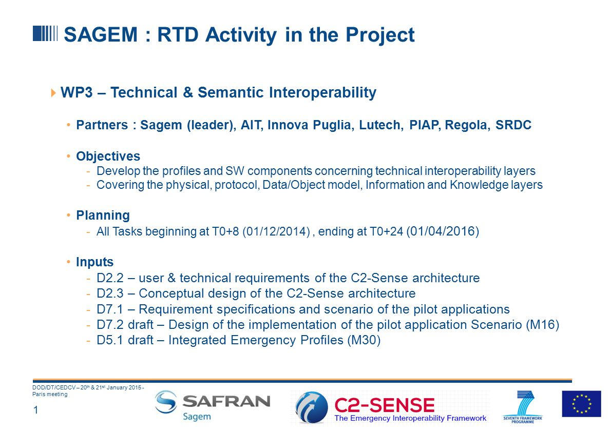 1 DOD/DT/CEDCV – 20 th & 21 st January 2015 - Paris meeting SAGEM : RTD Activity in the Project  WP3 – Technical & Semantic Interoperability Partners : Sagem (leader), AIT, Innova Puglia, Lutech, PIAP, Regola, SRDC Objectives -Develop the profiles and SW components concerning technical interoperability layers -Covering the physical, protocol, Data/Object model, Information and Knowledge layers Planning -All Tasks beginning at T0+8 (01/12/2014), ending at T0+24 (01/04/2016) Inputs -D2.2 – user & technical requirements of the C2-Sense architecture -D2.3 – Conceptual design of the C2-Sense architecture -D7.1 – Requirement specifications and scenario of the pilot applications -D7.2 draft – Design of the implementation of the pilot application Scenario (M16) -D5.1 draft – Integrated Emergency Profiles (M30)