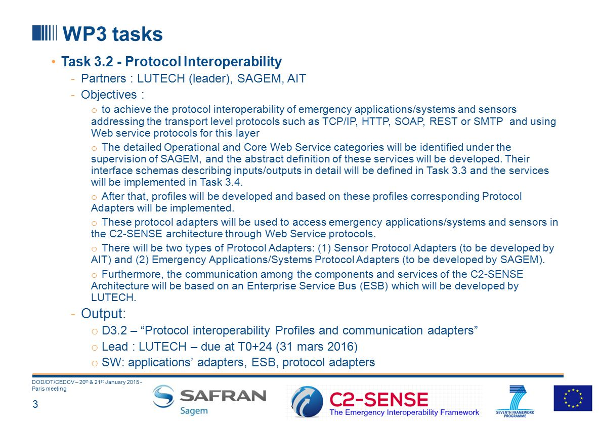 3 DOD/DT/CEDCV – 20 th & 21 st January 2015 - Paris meeting WP3 tasks Task 3.2 - Protocol Interoperability -Partners : LUTECH (leader), SAGEM, AIT -Objectives : o to achieve the protocol interoperability of emergency applications/systems and sensors addressing the transport level protocols such as TCP/IP, HTTP, SOAP, REST or SMTP and using Web service protocols for this layer o The detailed Operational and Core Web Service categories will be identified under the supervision of SAGEM, and the abstract definition of these services will be developed.