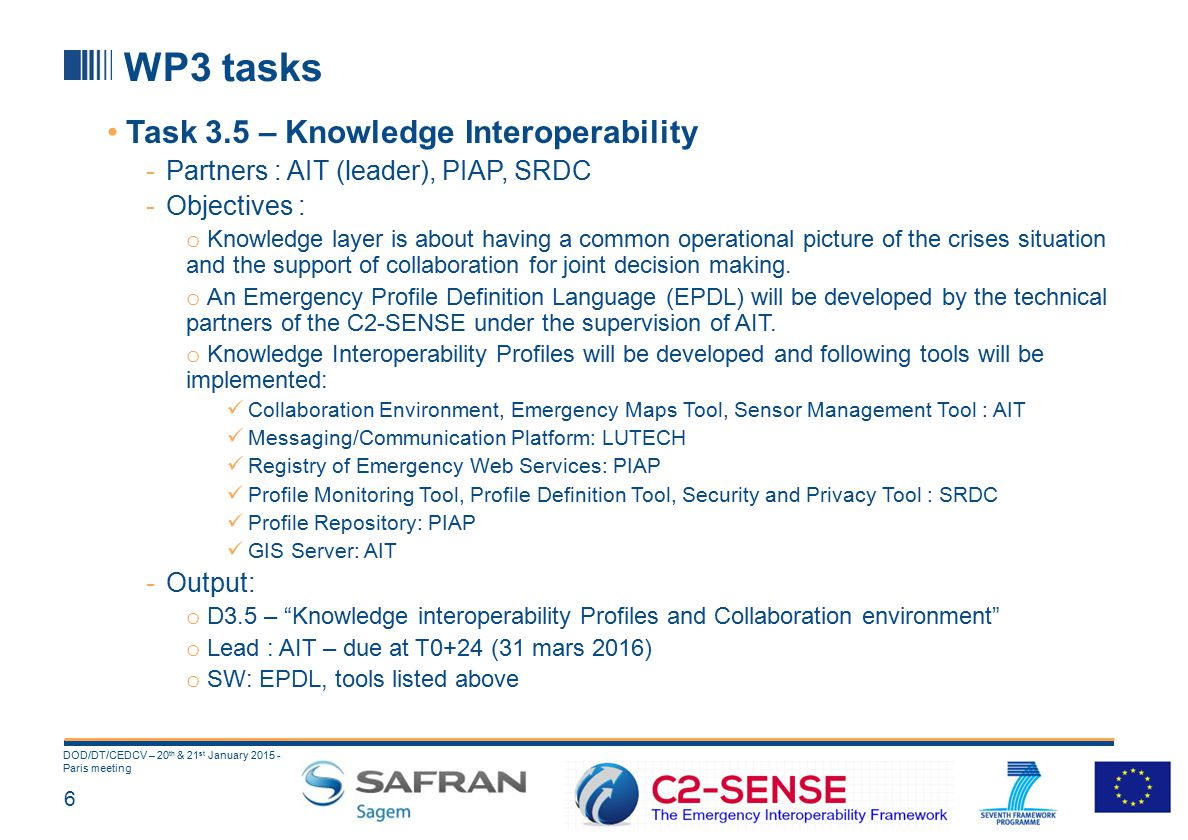 6 DOD/DT/CEDCV – 20 th & 21 st January 2015 - Paris meeting WP3 tasks Task 3.5 – Knowledge Interoperability -Partners : AIT (leader), PIAP, SRDC -Objectives : o Knowledge layer is about having a common operational picture of the crises situation and the support of collaboration for joint decision making.