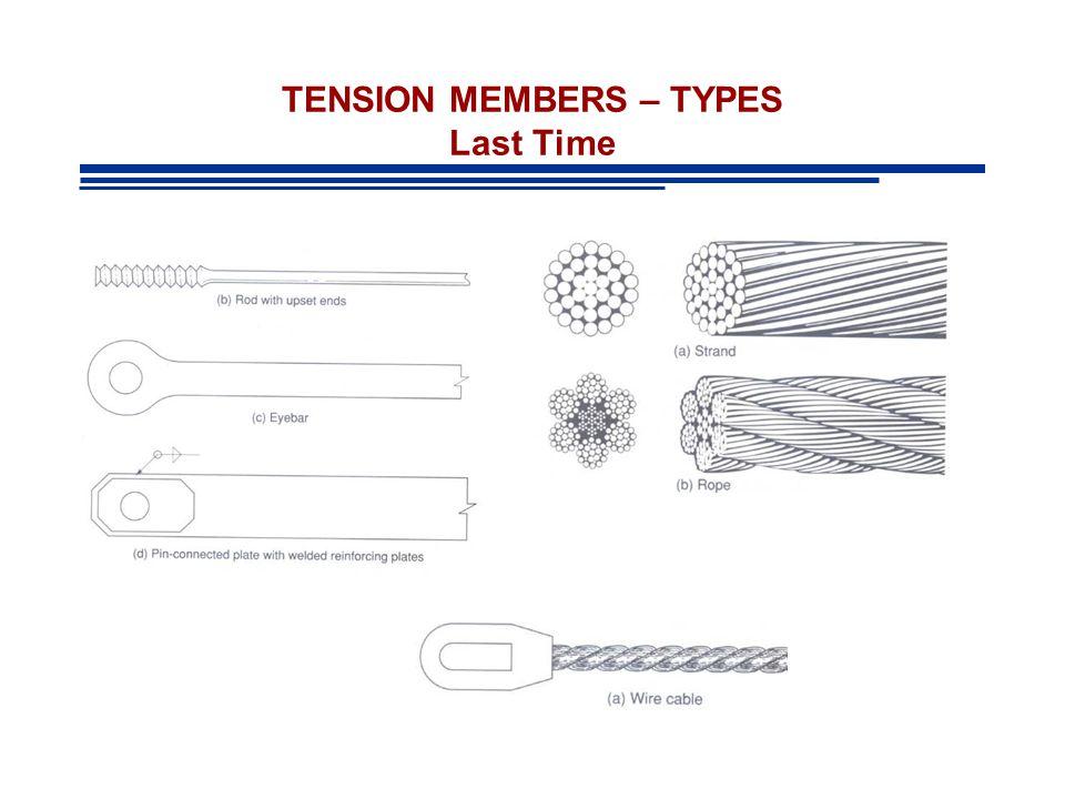TENSION MEMBERS – TYPES Last Time