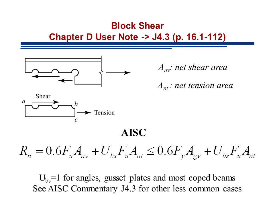 Block Shear Chapter D User Note -> J4.3 (p.