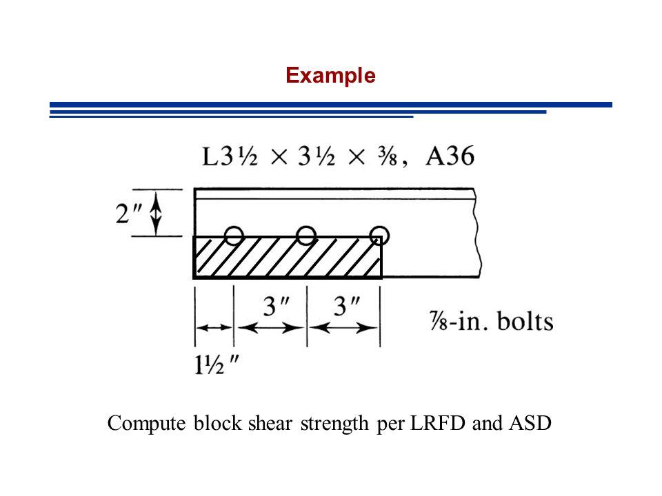 Example Compute block shear strength per LRFD and ASD