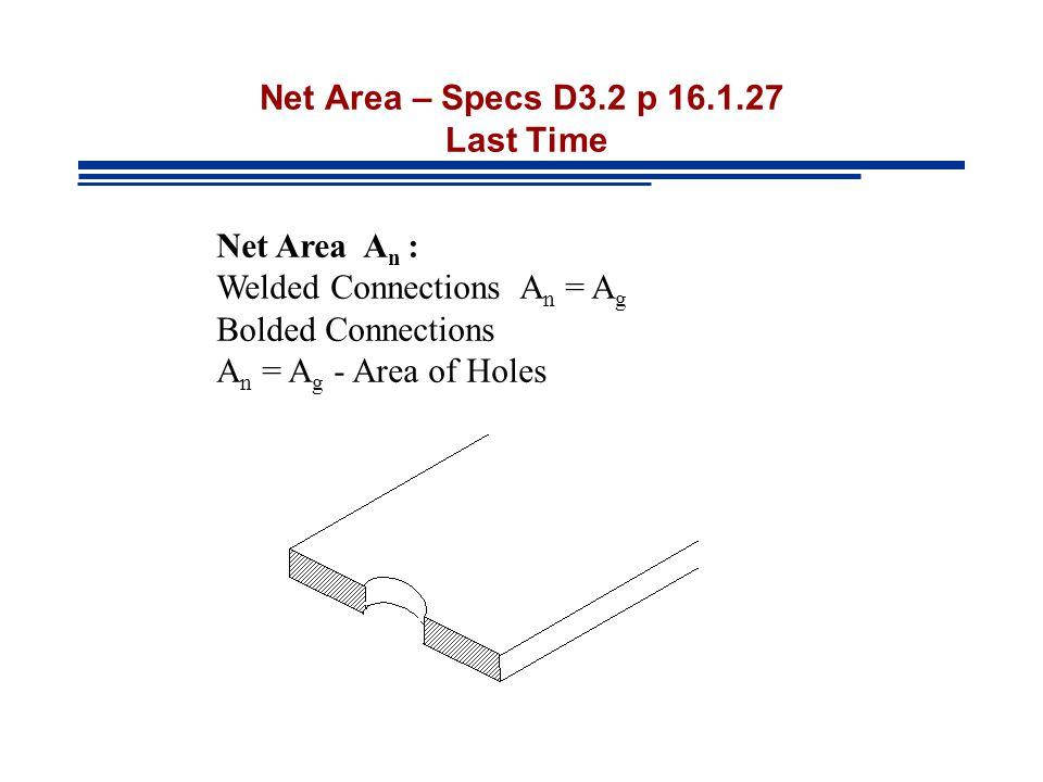 Net Area – Specs D3.2 p 16.1.27 Last Time Net Area A n : Welded Connections A n = A g Bolded Connections A n = A g - Area of Holes