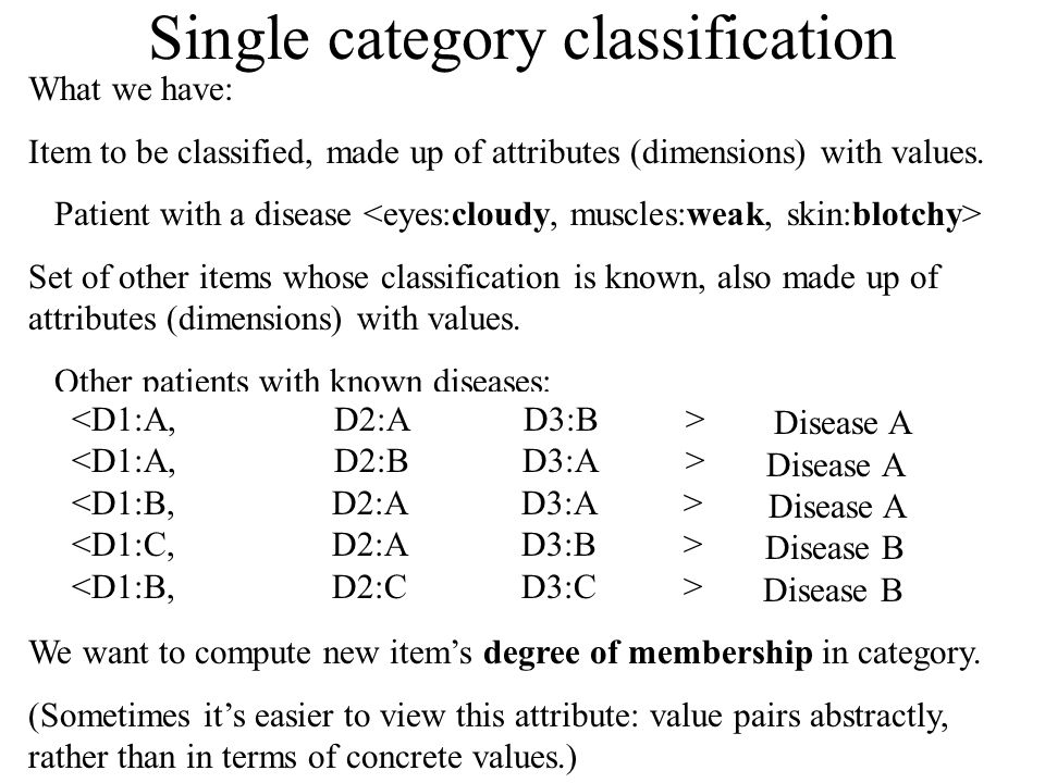 Single category classification What we have: Item to be classified, made up of attributes (dimensions) with values.