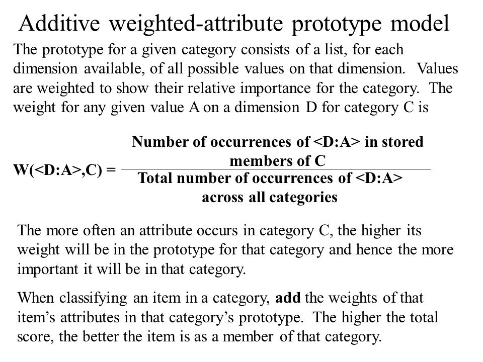 Additive weighted-attribute prototype model The prototype for a given category consists of a list, for each dimension available, of all possible values on that dimension.