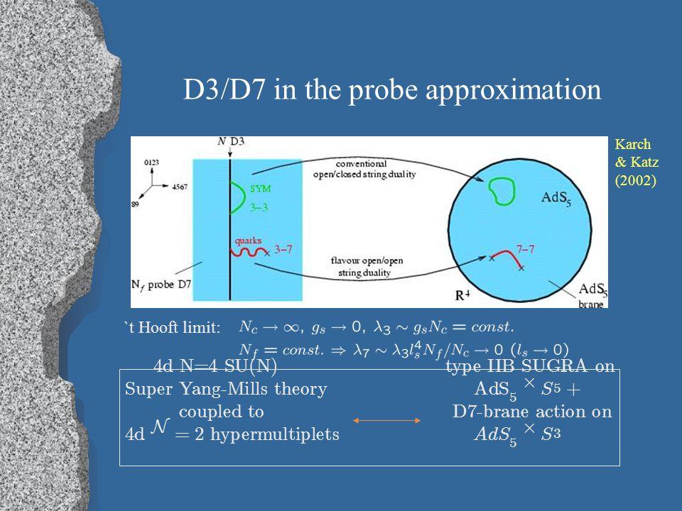Supermultiplets in the D3/D7 theory Masses of supermultiplets: Kruczenski et al.