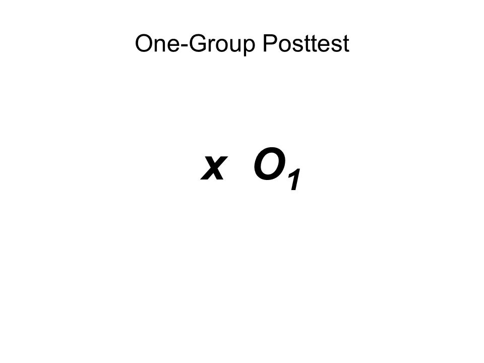 x O 1 One-Group Posttest x O 1