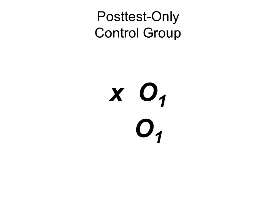 x O 1 O 1 Posttest-Only Control Group