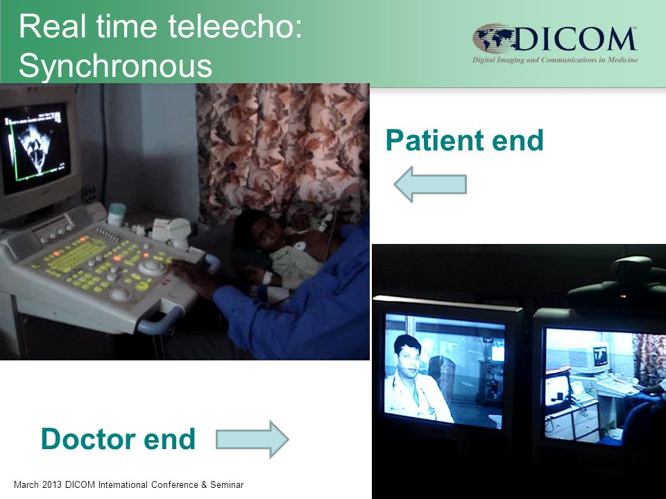 Real time teleecho: Synchronous March 2013 DICOM International Conference & Seminar23 Patient end Doctor end