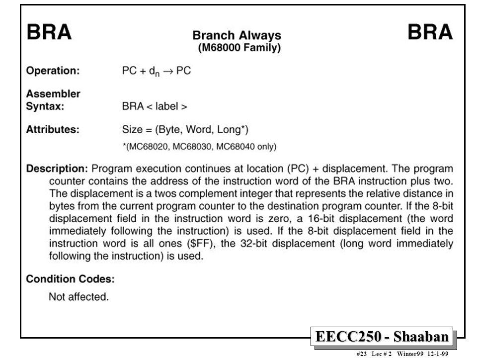 EECC250 - Shaaban #23 Lec # 2 Winter99 12-1-99