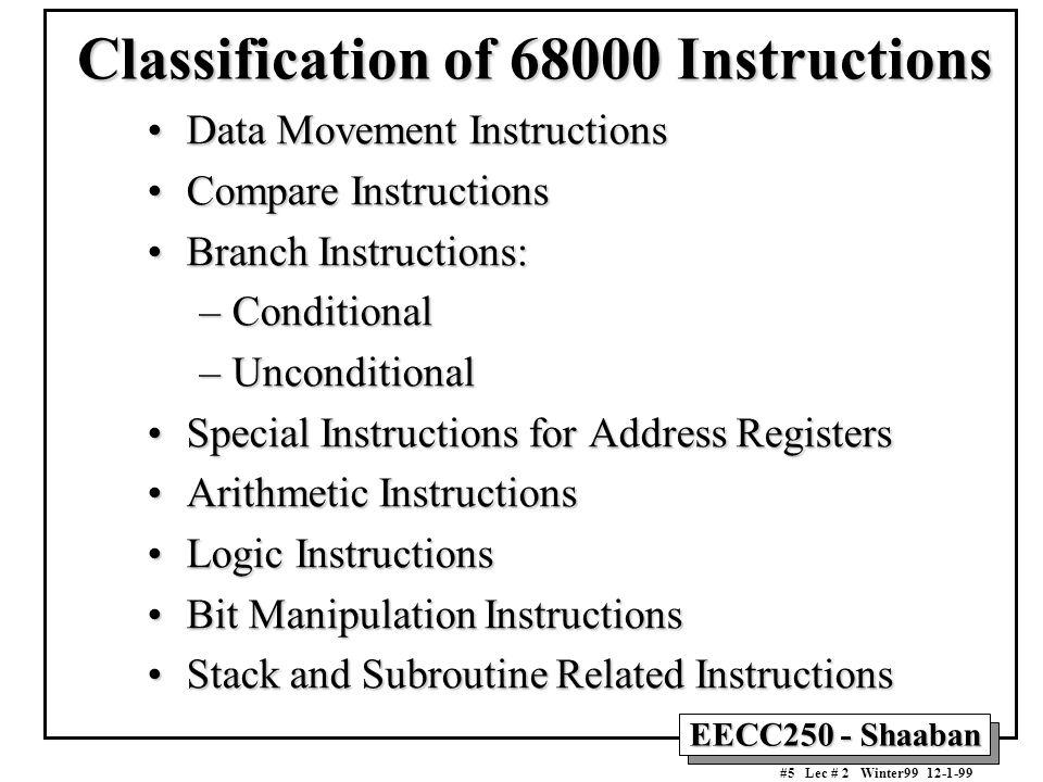 EECC250 - Shaaban #16 Lec # 2 Winter99 12-1-99