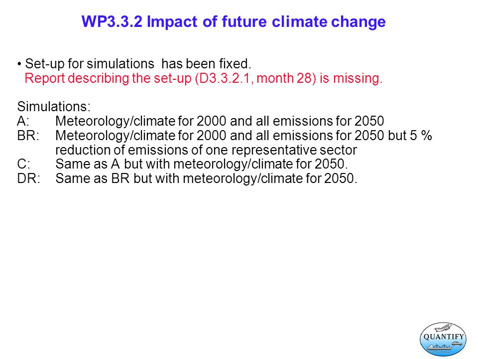 WP3.3.2 Impact of future climate change Set-up for simulations has been fixed.