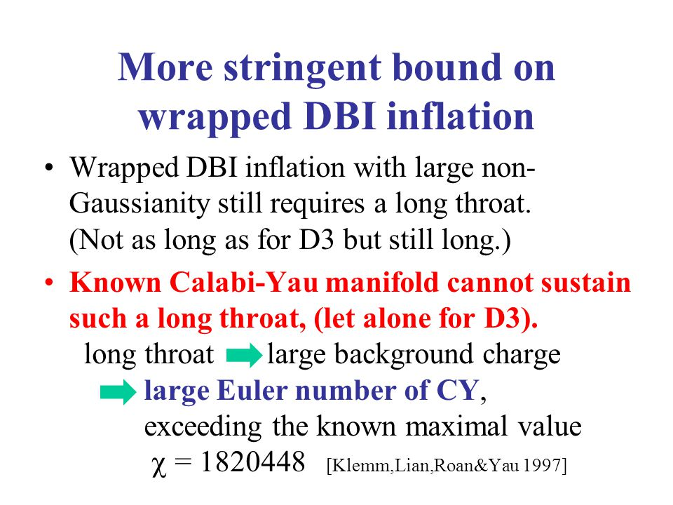 More stringent bound on wrapped DBI inflation Wrapped DBI inflation with large non- Gaussianity still requires a long throat.