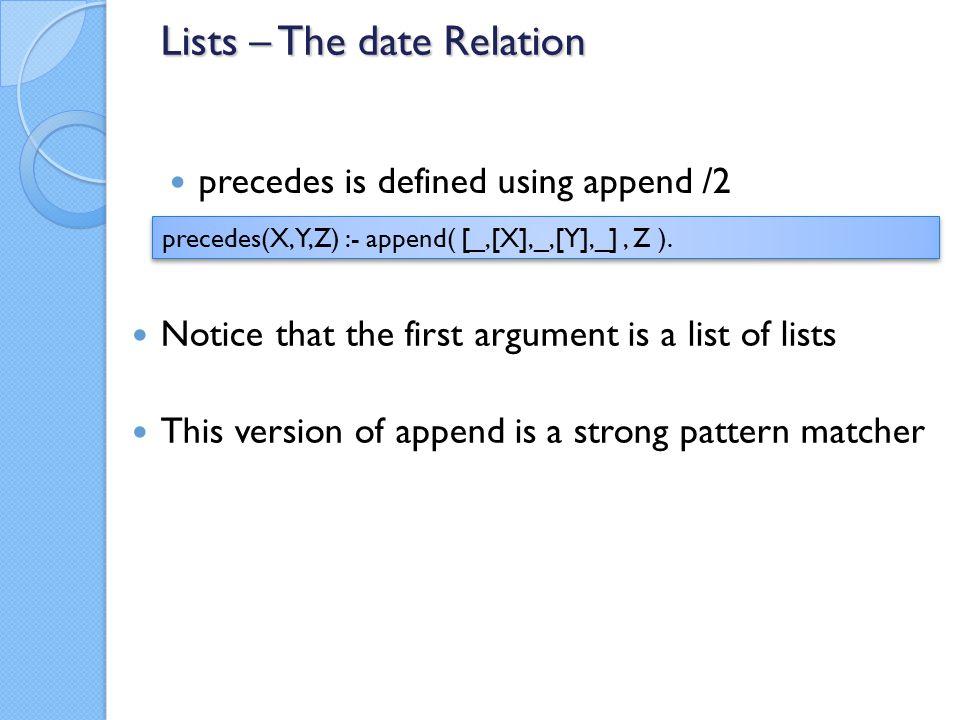 precedes is defined using append /2 precedes(X,Y,Z) :- append( [_,[X],_,[Y],_], Z ).